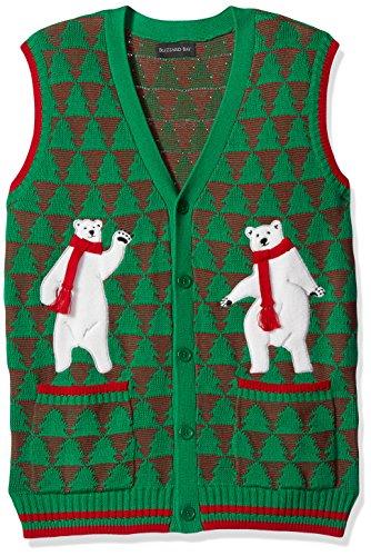 Blizzard Bay Men's Polar Bear Dance Party Ugly Christmas Sweater, Green, Small