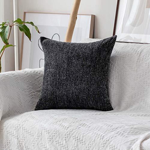Home Brilliant Large Cushion Cover for Chair Striped Chenille Velvet Plush Pillowcase Euro Pillow Shams Protector, 26 x 26 inch (66cm), Dark Grey