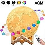 AGM - Luz de noche con diseño de luna lunar, 16 colores, sin costuras, 15 cm, con soporte de Navidad y cualquier festival, el mejor regalo (5.9 pulgadas), 2 W