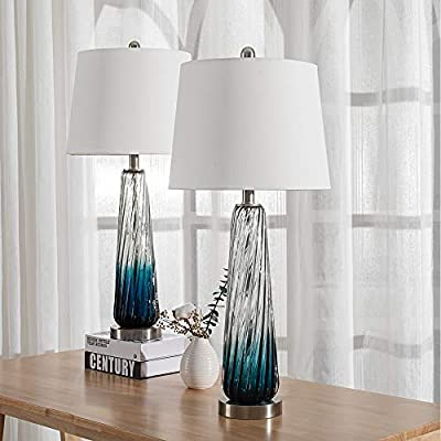 Maxax Modern Glass Table Lamps Set of 2 White Drum Shade for Living Room Family Bedroom Bedside Nightstand