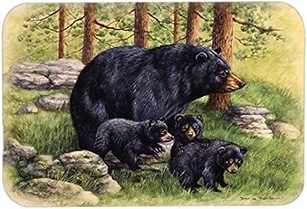 "Caroline's Treasures BDBA0114LCB""Black Bears by Daphne Baxter"" Glass Cutting Board, Large, Multicolor"