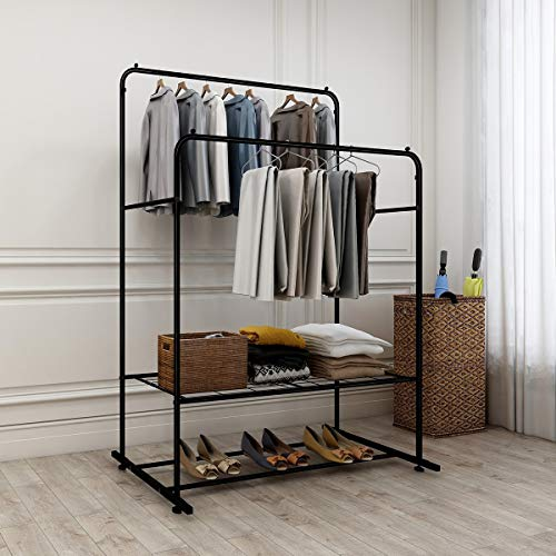 DUMEE Double Rail Clothes Rack Garment Rack Clothes Rail Heavy Duty Coat Racks Hanger With Top Rod and Lower Storage Shelf Clothes Rack Easy to Assemble Adds Instant Closet Space Black