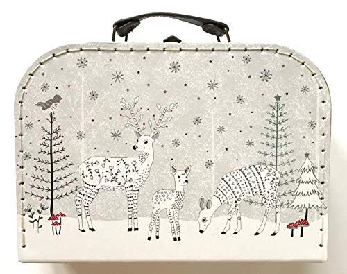 Sass and Belle koffer winterbos (hert in het winterwoud). Kinderkoffer/poppenkoffer/opbergdoos. Kartonnen koffer, 2 verschillende maten.