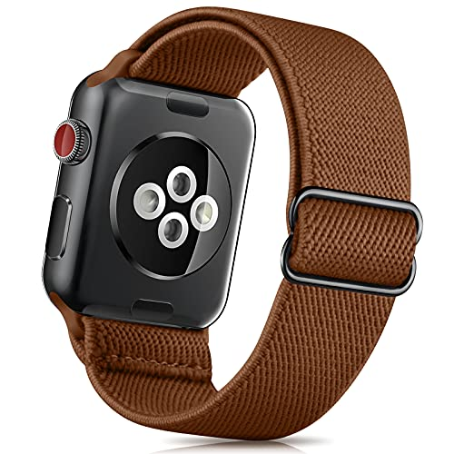 ZALAVER Stretchy Solo Loop Band Compatible with Apple Watch Bands 38mm 40mm 42mm 44mm, Nylon Adjustable Braided Sport Elastics Wristband Compatible with iWatch Series 6/5/4/3/2/1 SE Women Men Brown