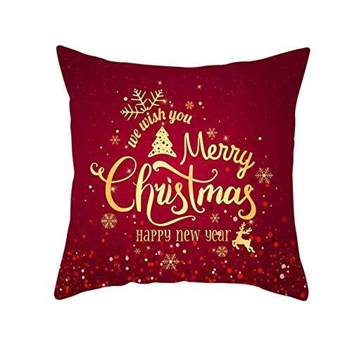 ANAZOZ 1 Funda Cojin 50x50,Fundas Cojin Poliéster Copos de Nieve We Wish You Merry Christmas and Happy New Year Rojo Oscuro Oro