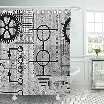 Semtomn Shower Curtain Masculine Cyberpunk Tech Geek Gear Electronic Engineer Engineering Cyber 66 x72  Home Decor Waterproof Bath Bathroom Curtains Set with Hooks