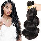 New 2016 Grade 7a Braids Bulk Human Hair Brazilian Bulk Hair For Braiding 3 Bundles Lot 150g 100% Human Hair Crochet Braids Bulk Hair Brazilian Braiding Hair(18'20'22') Natural Black Color #1B