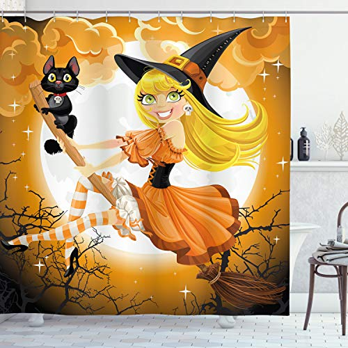Cute Witch on Broom and Baby Kitten Shower Curtain