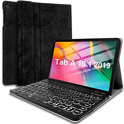 Wineecy Galaxy Tab A 10.1 2019 Backlit Keyboard Case SM-T510 /T515, Round Key 7 Colors Light Detachable Wireless Keyboard with PU Cover for Samsung Tab A 10.1 2019 (Galaxy Tab A 10.1 2019, Black)