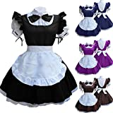 HXMCOS Cosplay Costume Doll Collar Retro Maid Dress Cute French Maid (Black, Female:XXX-Large)