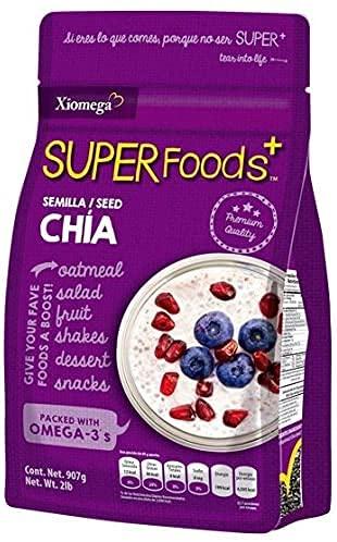 Xiomega Superfoods - Semilla de Chía- Ideal para Enriquecer Bebidas y Alimentos (907grs)