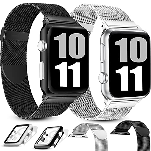 Pack 2 Metal Straps with Cases Compatible with Apple Watch Strap 38mm 40mm 42mm 44mm,Adjustable Stainless Steel Mesh Replacement Wristband Compatible with iWatch Series 6 5 4 3 2 1