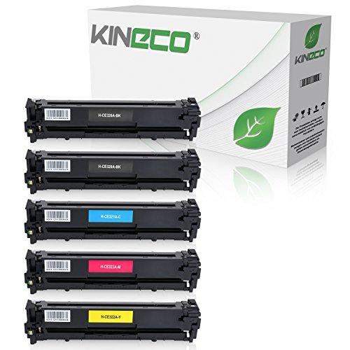 5 Kineco Toner kompatibel zu HP CE320A-CE323A für Laserjet CP1525, CP1526nw, Pro CM1410 Series, CM1411fn, CM1415fnw, CM1418fnw, CP1520 Series - 128A - Schwarz je 2.200 Seiten, Color je 1.400 Seiten