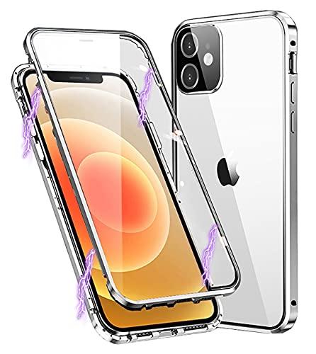 Cover per iPhone 11 Custodia Magnetica 360 Gradi Antiurto Trasparente Case con Protezione Integrata dello Schermo Cornice Metallica Rugged Armor per iPhone 11, Argento