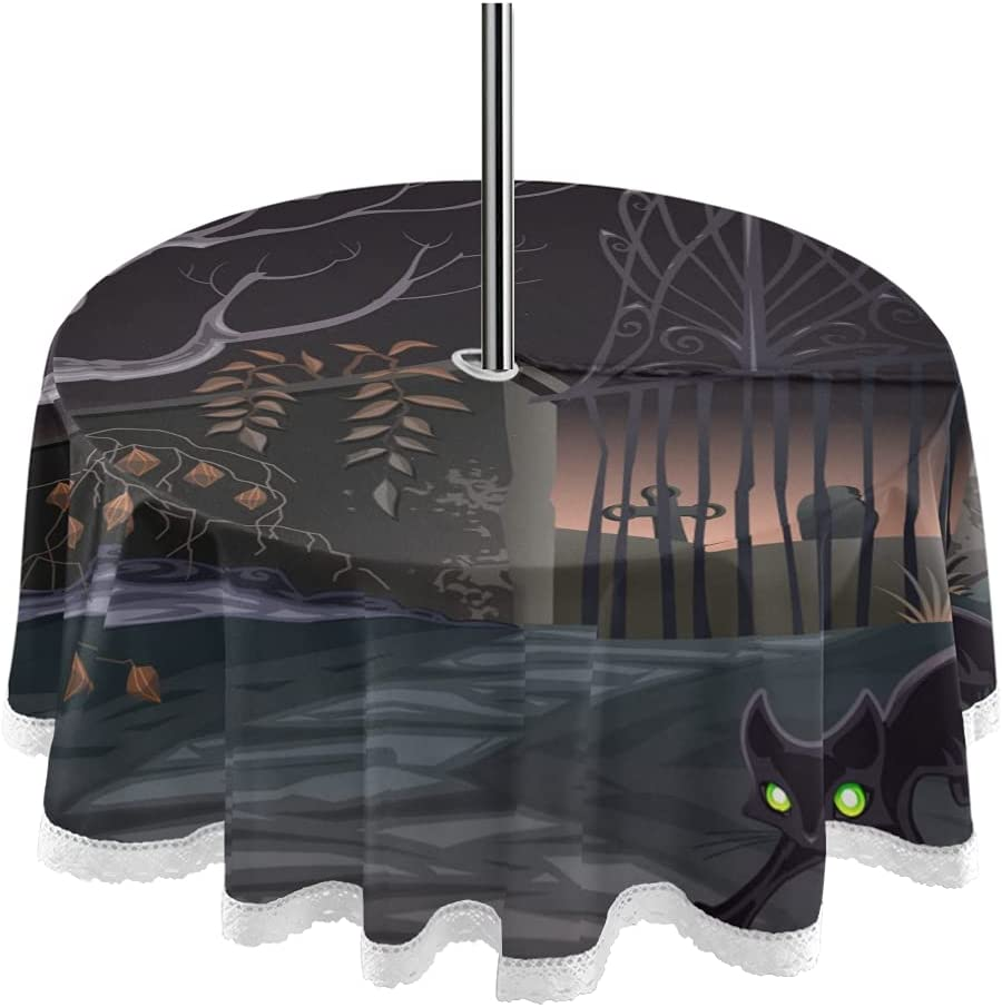 Halloween Large special price !! Gate Tree Ranking TOP3 Cat 60inch Ho with Tablecloth Umbrella Round