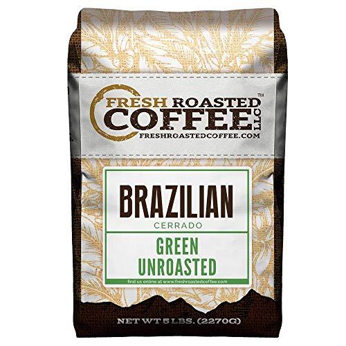 Fresh Roasted Coffee LLC, Green Unroasted Brazilian Cerrado Coffee Beans, 5 Pound Bag