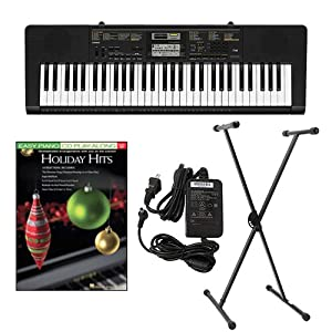 Casio CTK2400 61-Key Keyboard Deluxe Package with Casio Keyboard Adapter  Keyboard Stand & Holiday Hits Easy Piano Play Along Book