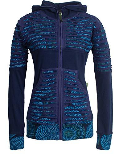 Vishes - Alternative Bekleidung - Damen Hoodie Kapuzenjacke Baumwolle Gestreift Mandala Cutwork Patchwork dunkelblau 36
