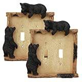 Ebros Set of 2 Novelty Woodland Rustic Forest Black Bear By Branch Twigs Wall Light Cover Plate Hand Painted Sculpted Resin Home Decor Accessory (2, Double Toggle Switches)