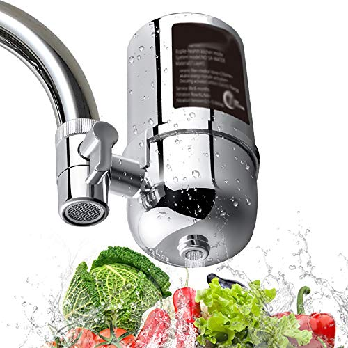 ZHONGXIN Filtro de agua del grifo, sistema de filtración del grifo de agua Filtro de agua del grifo, para la mayoría de los grifos, filtro de plomo, flúor y cloro (1 filtro de cerámica incluido)