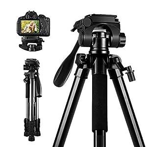 Camera Tripod, SAMTIAN 58inch/147cm Lightweight Aluminum Travel Camera Tripod with 3-Way Swivel Head Carry Bag Phone Clip for Canon Nikon Sony Olympus Photography Video Shooting