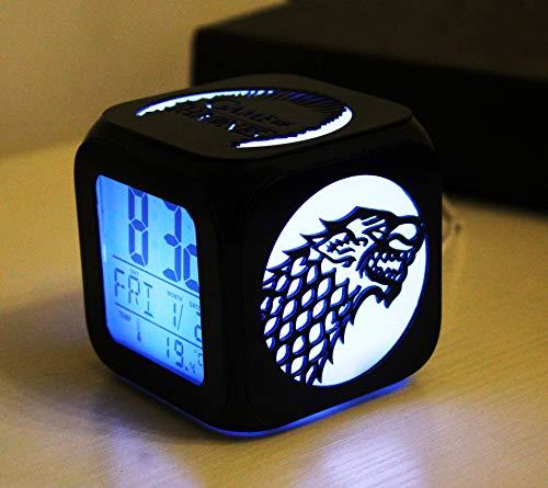 N/J Regalos divertidos para los niños Juego de Tronos de moda creativo 3D estéreo pequeño reloj despertador silencio LED luz de noche reloj electrónico cabeza de tigre logotipo de dragón