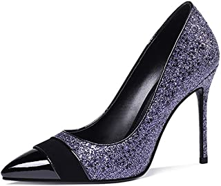 High-Heeled Shoes Women's Fine with New Large Size Color Matching Sequins Shallow Mouth Pointed Single Shoes Purple Size Code [32~42] Social Women's Shoes (Color : Blue, Size : 38)