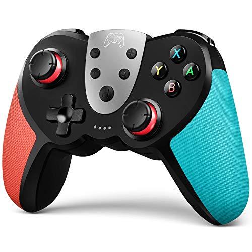 TERIOS Controller Wireless Pro per Switch, Joypad Premium per Videogiochi, Joystick Remoto per Giocatori, 3 livelli di Velocità Turbo, NFC per Amiibo, Doppia Vibrazione, Rosso or Blu