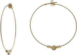 Gioiello Italiano - Orecchini a cerchio in oro 14kt con elementi, diametro 4.5cm, per donna e ragazza