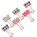 Small Metal Binder Clips Cute Tartan Printed Paper Clips Colored Decorative School Planner Clips