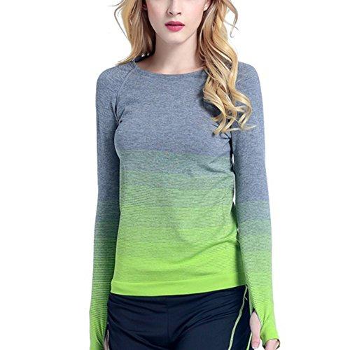 Damen Sport T-Shirt Langarm mit Daumenloch Sportbluse Top für Lauf-Yoga Workout Fitness