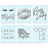 Inspirational Fashion Prints - Set of 6 8x10 Blue and Silver Office Poster Wall Art Quotes