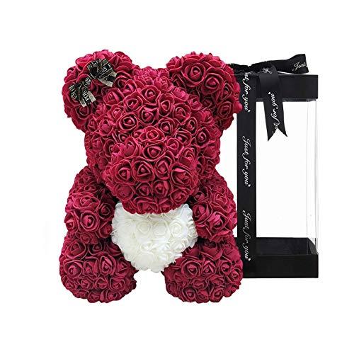 XIANLIAN El más Nuevo 25cm DIY Rose Bear - Rose Teddy Bear 7.8in Teddy Flower Bear - Caja de Regalo Transparente para el día de San Valentín, Aniversario y Despedidas de Soltera