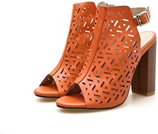 Ying-xinguang Shoes Fashion Women's Fish Mouth Hollow Laser Wood Grain Thick High Heels Comfortable
