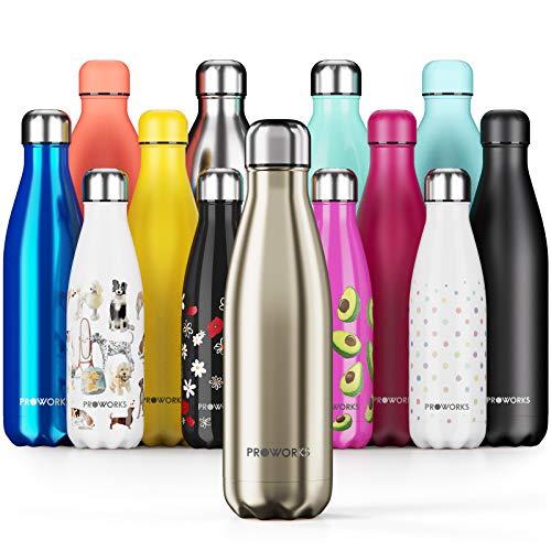 Proworks Edelstahl Trinkflasche | 24 Std. Kalt und 12 Std. Heiß - Premium Vakuum Wasserflasche - Perfekte Isolierflasche für Sport, Laufen, Fahrrad, Yoga, Wandern und Camping - 1 Liter - Gold