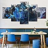 lcyfg Cuadros Salon Póster del Juego HD Impreso 5 Piezas Lienzo Arte Pinturas Cuadros Modular Cartel Decoración para El Hogar Marco(100x55cm