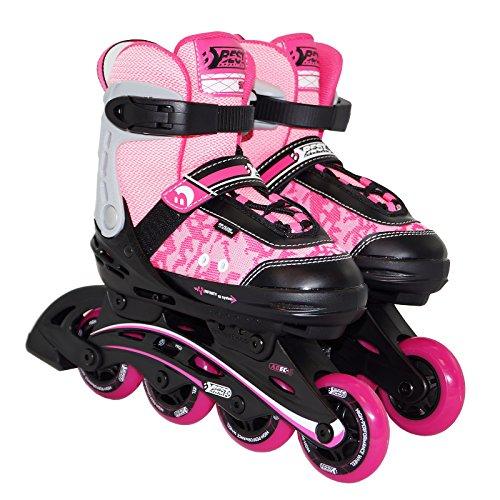 Best Sporting Inline Skates Größe verstellbar, ABEC 5 Carbon, Inliner Kinder und Jugendliche, Farbe: pink/schwarz, Größe: 35-40