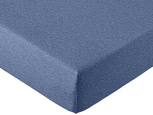 AmazonBasics - Spannbettlaken, melierter Jersey-Stoff 140g/m², Dunkelblau - 140 x 200 x 30 cm
