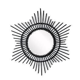 black velvet studio – Miroir, Hawai rotin. Forme de Cercle. Style Nordique. 52x52x2 cm.