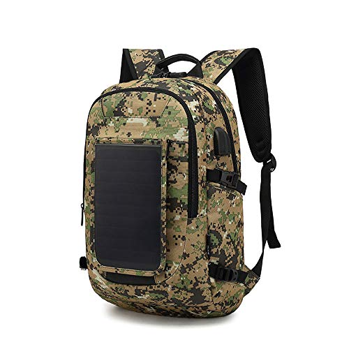 Solar Panel Backpack,Outdoor Anti-Theft Backpack for Smartphones And All USB Devices on The Go 40L Volume And 16'' Laptop Compartment,camouflage