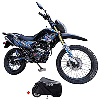 X-Pro Hawk DLX 250 EFI Fuel Injection 250cc Endure Dirt Bike Motorcycle Bike Hawk Deluxe Dirt Bike Street Bike Motorcycle with Motorcycle Cover,Blue by X-Pro