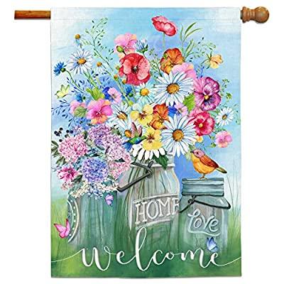 Bonsai Tree Spring Flags 28 x 40 Double Sided, Welcome Decorative Burlap Garden Flag, Hydrangea Pansies Daisy Butterfly House Banners Yard Decorations for Home