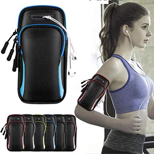 Nuryme Brazalete deportivo con bolsillo para el teléfono móvil, con cremallera, brazalete deportivo para correr, correr, correr