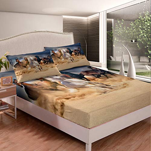 Horse Bed Sheet Set 3D Running Horses Bed Sheets for Kids Boys Girls Youth Man Galloping Horse Decor Bedding Set Wild Animal Pattern Nature Theme Fitted Sheet Bedroom 2Pcs Single Size