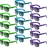 Weewooday 15 Pair Pixel Retro Gamer Robot Sunglasses Pixel Sunglasses Pixelated Sunglasses Birthday Party Favors for Kids and Adults (Blue, Purple, Green)