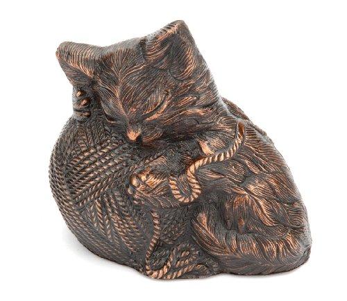 Urns UK Metallurne, Katze mit Wollknäuel, kupferfarben