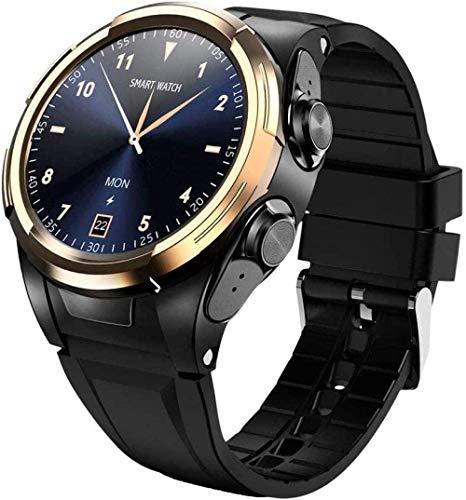 DHTOMC Reloj inteligente de dos en uno reloj inteligente con auriculares 1.3 pulgadas de pantalla táctil simple reloj inteligente fitness negocios deportes-oro