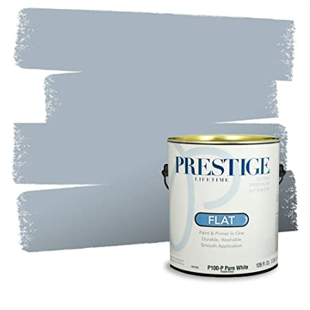 Prestige Paints Interior Paint And Primer In One 1 Gallon Flat Comparable Match Of Behr Intercoastal Gray Amazon Com