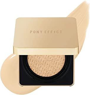 PONY EFFECT Coverstay Cushion Foundation Ex | 002 Natural Ivory | Long-lasting and High-Coverage Cushion Foundation With R...