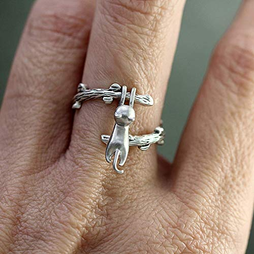 UKD PULABOKlettern Katze Ring Tier einstellbare Ringe für Frauen mädchen Geschenk Alten Silber ton bequem und praktisch